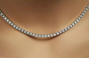 Platinum finish ladies created diamonds Tennis Necklace  16inch