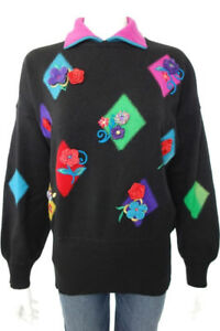 VINTAGE-ESCADA-BLACK-JUMPER-WITH-COLOURED-APPLIQUE-FLOWERS-SIZE-42-US-12