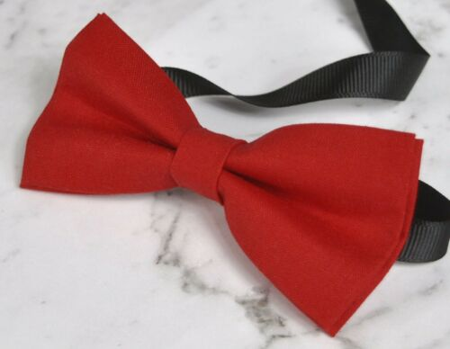 Boy Kids Red Cotton Solid Bow tie for Men Adult Youth Baby Infant Toddler