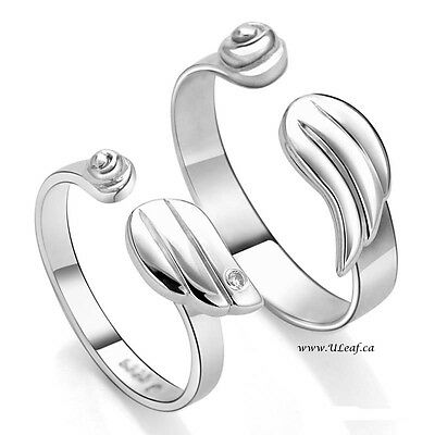 S925 Sterling Silver Adjustable Angel's Wing Couple's Ring Set/18k GP Valentine'