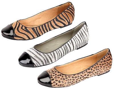 Damen Anne Michelle Schuhe L4937 Leopard/Zebramuster Druck flach Ballerina