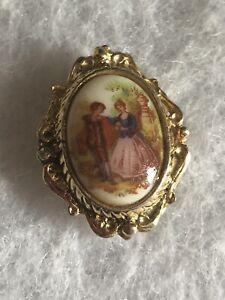 1980s-Ceramica-Broche-Tudor-Escena-Impresion-joyas-joyas-de-coleccion-Retro-Pin-Antiguo