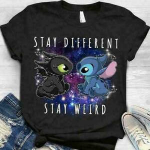 Stitch-and-Toothless-Stay-Different-Stay-Weird-TShirt-Cotton-S-5XL-Made-in-USA