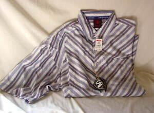 MECCA-DNM-White-Blue-Gray-Pink-Striped-Short-Sleeve-Shirt-Mens-Size-XXL-NEW-NWT