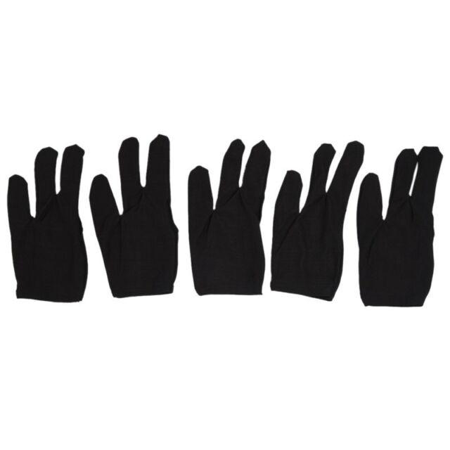 5 x Gants de billard à 3 doigts Noir I5T3