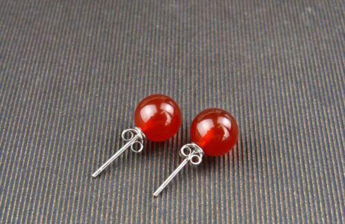 ER 14 Natural gemstone agate earrings Sterling Silver Gift Her Mom Love heart