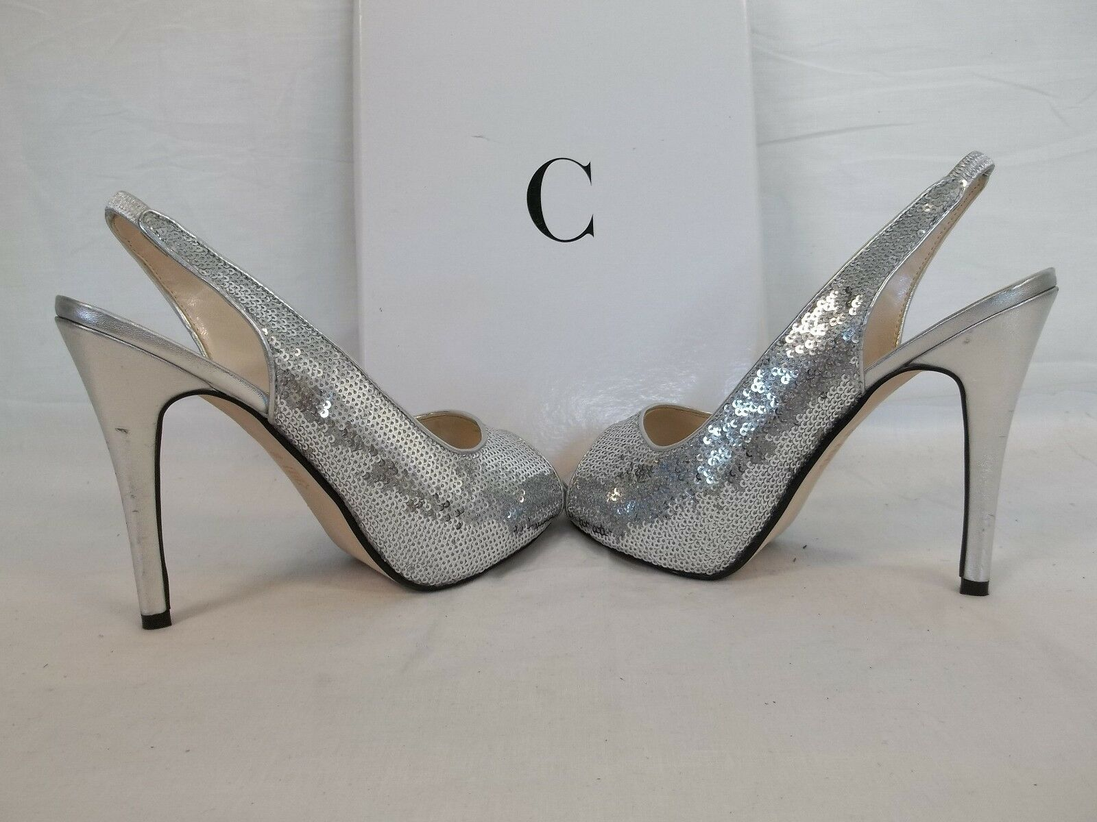 Caparros 6.5 M Channing Silver Satin Open Open Open Toe Sling Backs Heels New Damenschuhe Schuhes 950458