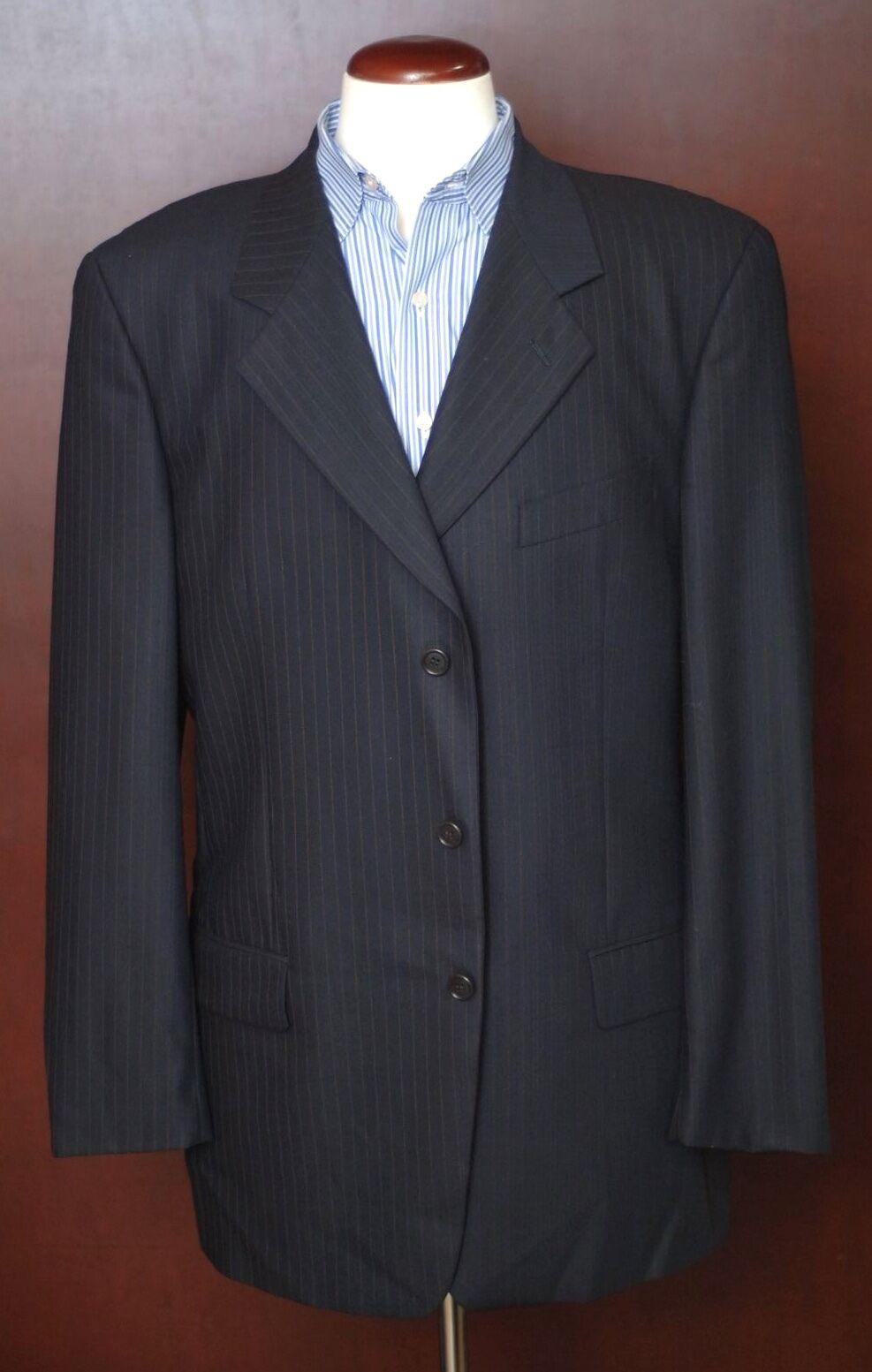 Valentino Men's Navy bluee Copper Stripe All Season Wool Suit 42L 42 Long