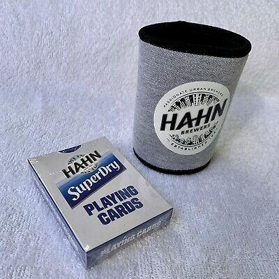 HAHN PREMIUM BEER STAINLESS STEEL COASTER SET WITH HOLDER IN GIFT BOX