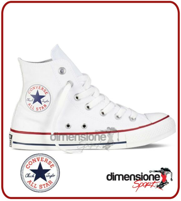 SCARPE CONVERSE ALL STAR ALTE BIANCHE tela TG 36 US 3,5 bianco canvas hi shoes