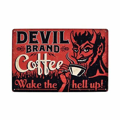 Devil Brand Coffee Wake the hell up tin metal sign house decoration