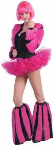 Annie May Furry Boot Covers Pink Rave Anime Halloween Adult Costume Accessory