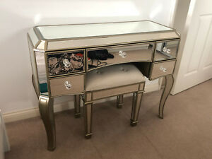 Vintage Dressing Table Venetian Mirrored Furniture Antique