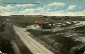 Omaha-NE-Union-Pacific-32nd-Ave-Train-Station-Depot-c1910-Postcard