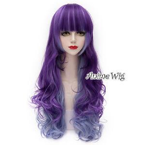 75cm29 Lolita Ombre Púrpura Mix Azul Pelo Rizado Largo