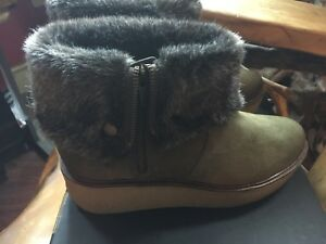 1dbd55c8f765 DNA TK Maxx Green Suede Faux Fur Zip Fold Over Top Platform Wedge ...