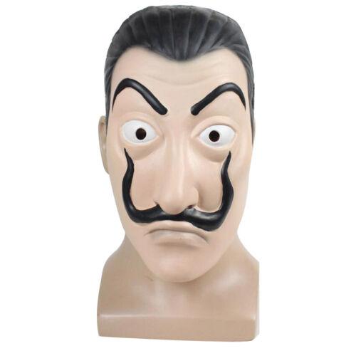 New La Casa De Papel Face Mask Money Heist Salvador Dali Latex Halloween Cosplay