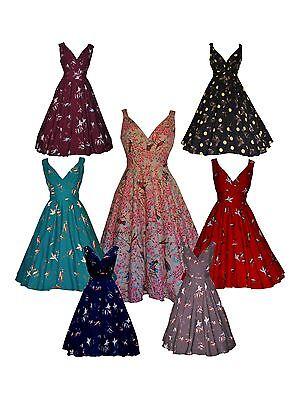 Pratico Donna Anni 1940 Anni 1950 Vintage Stile Retrò Bird Stampa Svasato Tea Dress New 8 - 28-mostra Il Titolo Originale Sconto Online