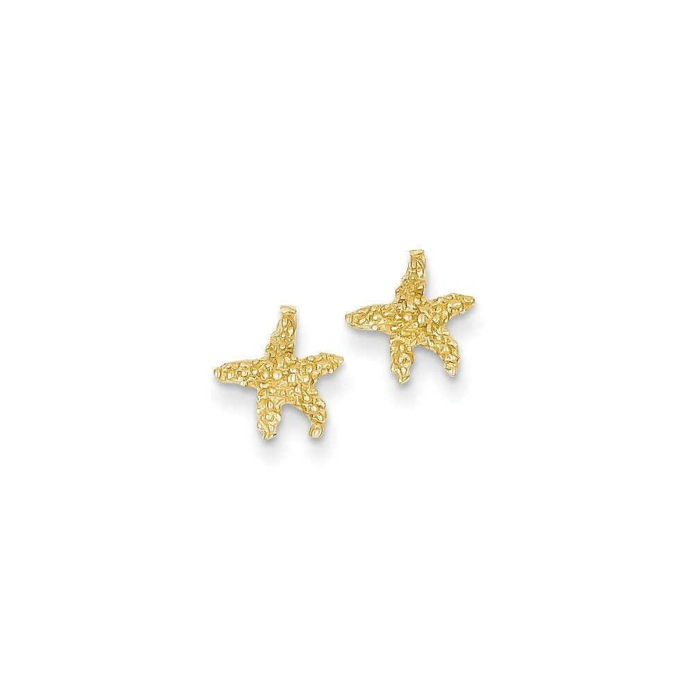 14kt Yellow gold Polished & Textured Starfish Post Earrings