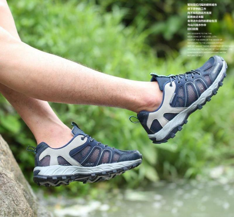 Summer Men's lace up Net mesh sport Outdoor hiking shoes sandal breathable
