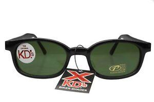 X KD's Sunglasses Original Biker Shades Motorcycle Black Green 1126
