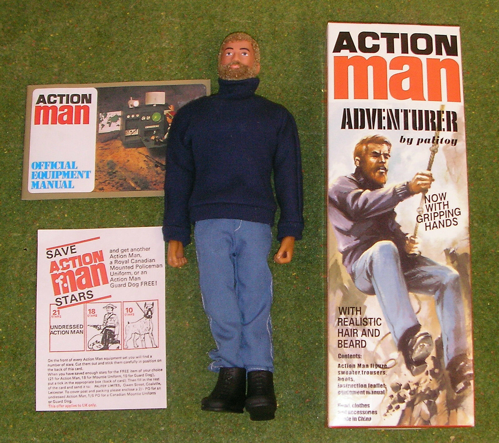 ACTION MAN 40th BOXED ADVENTURER BLONDE BEARDED w  GRIPPING HANDS