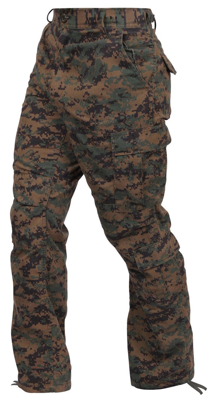 Vintage Style Woodland Digital Camo Paratrooper Cargo Pants Fatigues redhco 2666