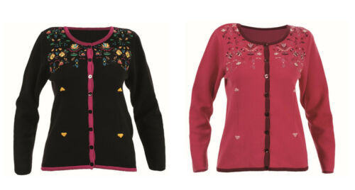 Cherry Blumenmuster Knitwear Embroidery Pattern Floral Jacket Black Kooi pxYzwPqx