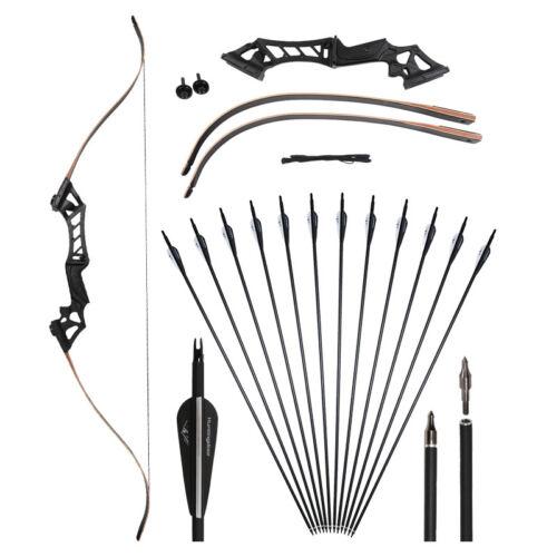30-50lbs 60/'/' Takedown Recurve Bow Kit Set Archery Black with 12pcs Carbon Arrow