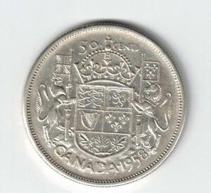 CANADA-1958-DOT-50-CENT-HALF-DOLLAR-QUEEN-ELIZABETH-CANADIAN-800-SILVER-COIN