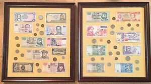 Foreign Currency Framed Bank Notes Coin Money Collection Lot Of 2 -