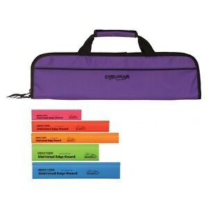 5-Pocket-Chef-Knife-case-roll-bag-Purple-5pc-Colored-knife-edge-guards-Ergo-Chef