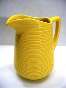 Vintage-McCoy-Pitcher-Yellow-Ringware-Art-Pottery-8-034