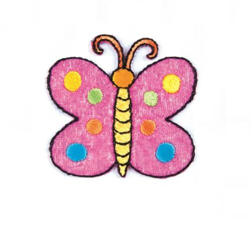 Pink Spotty Butterfly Sew On Motifs or Iron On Dresses Appliques Patches 4.8 cm