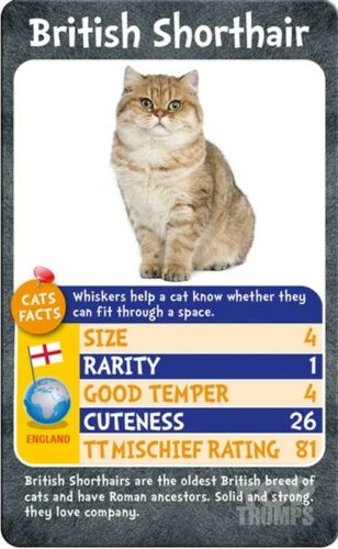 TOP TRUMPS CATS Family Game Toy Gift Card Game Office Game Collection