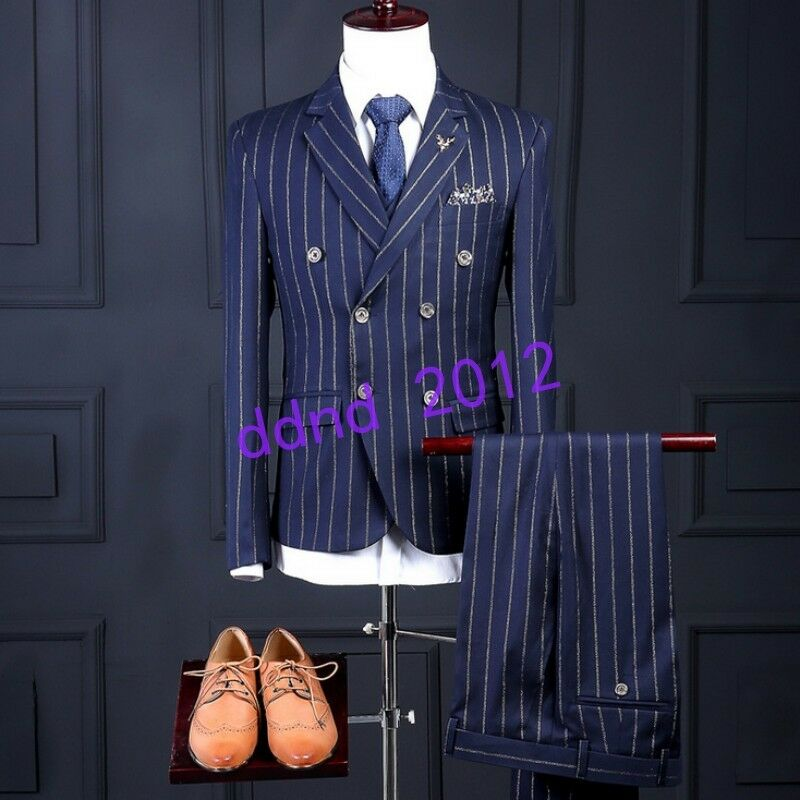 Men High-end Double-breasted Slim Fit Stripe bluee Coat Vest Pants Suits Wedding