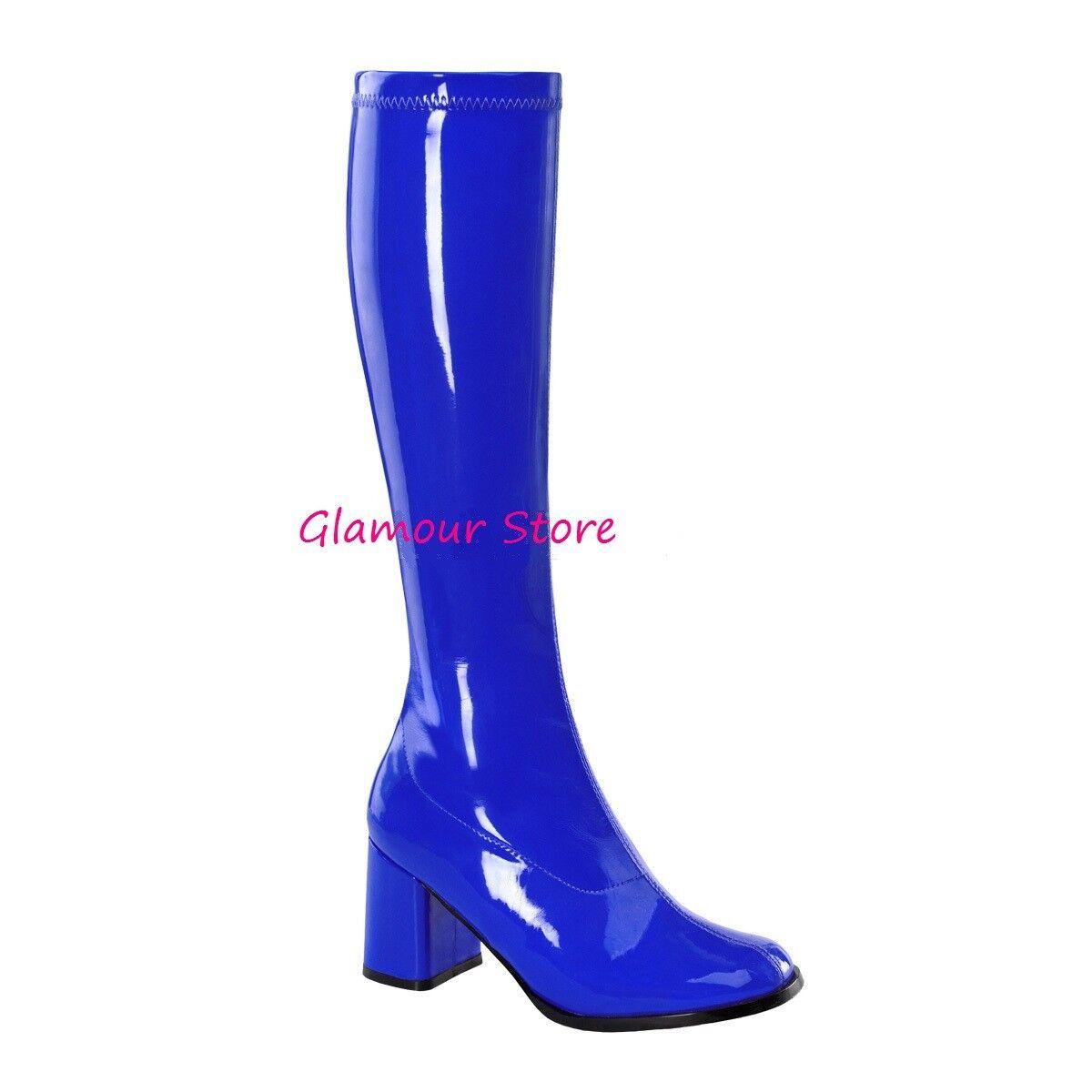 Sexy STIVALI tacco 7,5 BLU NAVY LUCIDO dal 35 al 46 zip scarpe fashion GLAMOUR