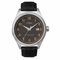 NEW Timex Watch INDIGLO BROWN DATE DIAL 50M Leather Strap T2N4069 FREEGIFT $95