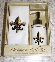 Decorative Fleur De Lis Soap Dispenser & Embroidered Towel Set