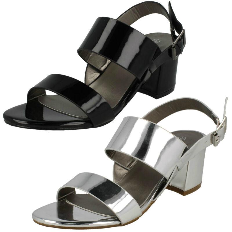 Anne Michelle F10732 Black Or Silver Hi Shine Synthetic Strap Sandals