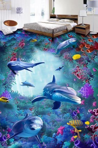 3D sea fish water 750 Floor WandPapier Murals Wand Drucken Decal 5D AJ WandPapier