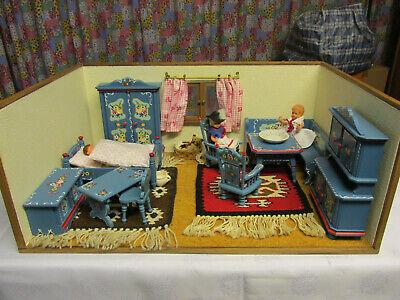 Puppenstube (4) 50er Jahre, Unrestauriert, 55x37x23,1 Zimmer, Dora Kuhn (4) Delikatessen Von Allen Geliebt