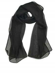 HüBsch Und Bunt schwarz Glamurös Qualität Einfarbig Eigenfarbe Chiffon Schal 50cm X 150cm