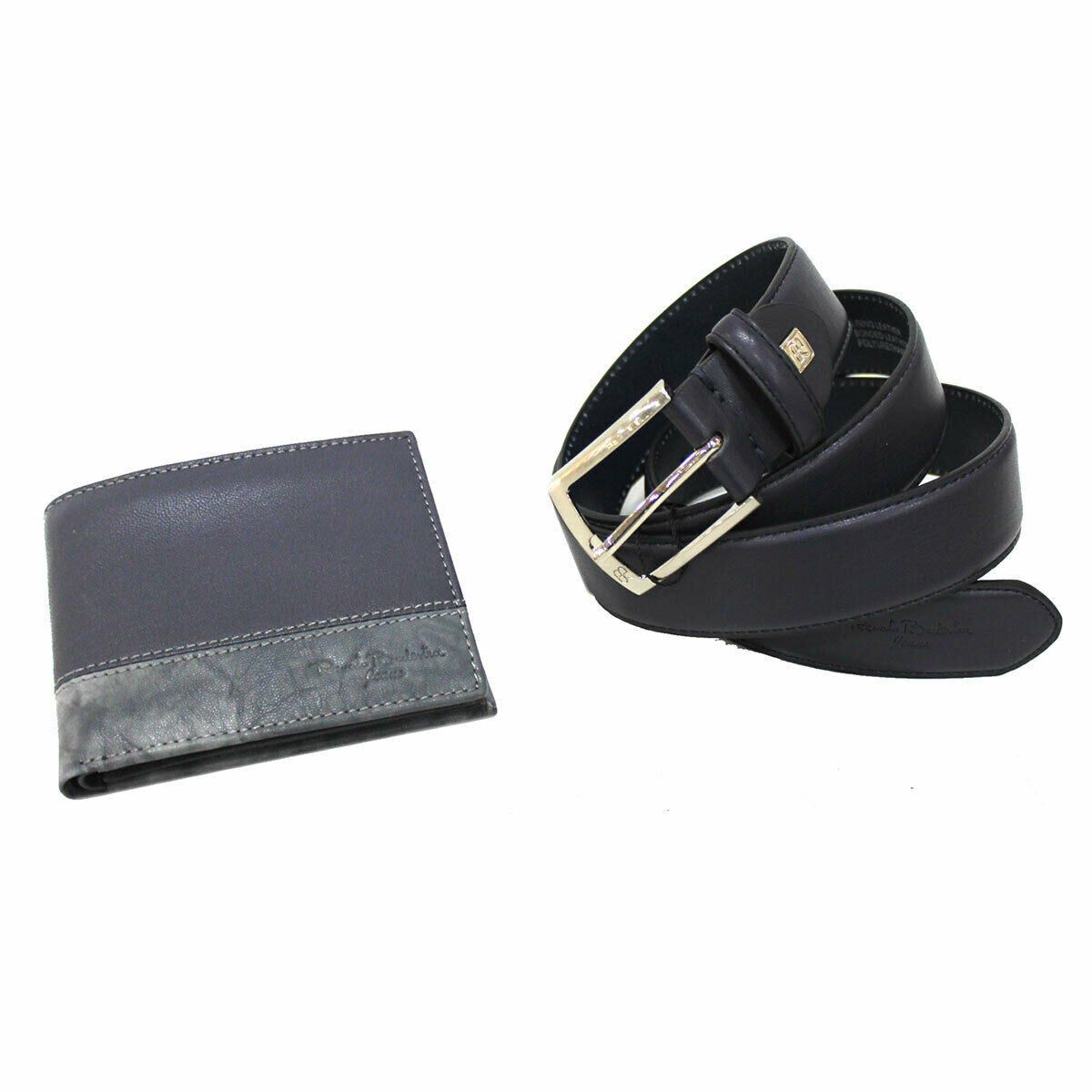 Men's set faux leather belt 35 mm high size 125 and leather wallet in box blue
