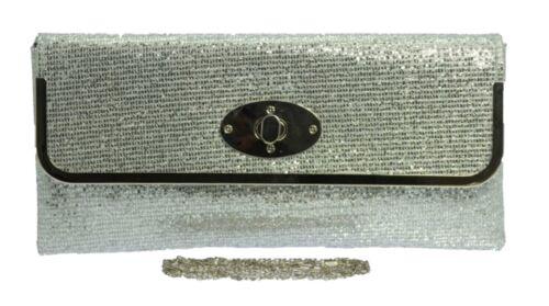 Nueva Plata Gris Metalizado Bolsos de embrague Diamante Boda Funda Rígida Encaje Perlas