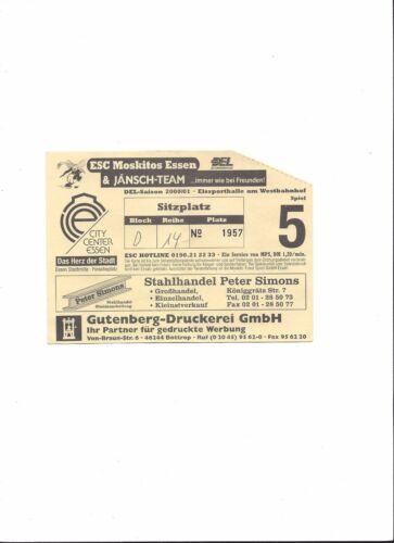 NÜRNBERG ICE TIGERS Eishockey DEL 00/01: ESC MOSKITOS ESSEN Sammler Ticket