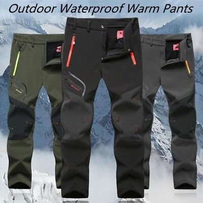 Men/'s Waterproof Hiking Pants Soft Shell Windproof Snow Ski Snowboarding Fleece Lined Insulated Thermal Winter Outdoor Pants