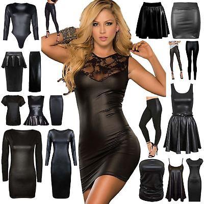 Womens Wet Look Ladies Peplum PVC Bodycon Skater Skirt Blouse Jeggings Dress Top