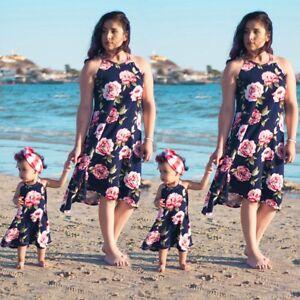 67fbdde03 Family Clothes Mother Daughter Matching Dresses Women Kids Girl Long ...
