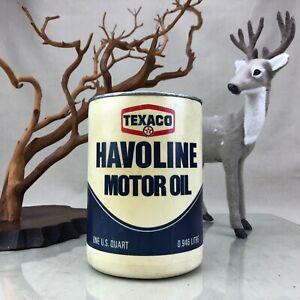 Texaco-Havoline-Motor-Oil-Vintage-1970-s-Plastic-Quart-Can-Full-Unopened